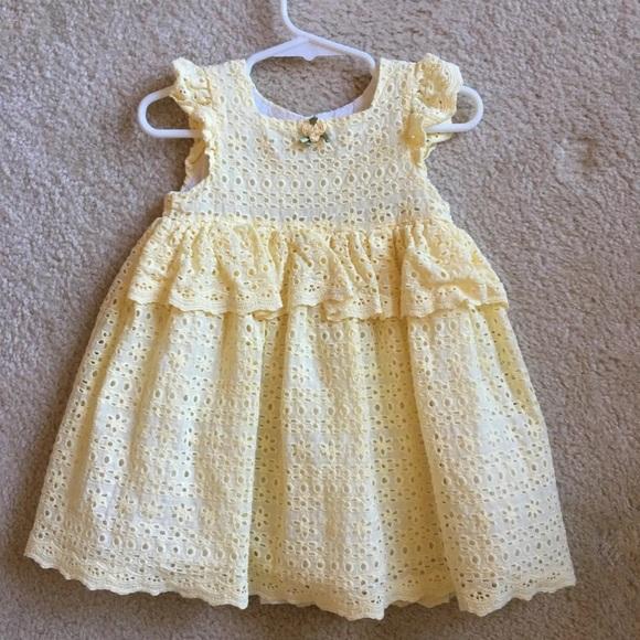 Laura Ashley Dresses Yellow Eyelet Dress With Diaper Cover Poshmark